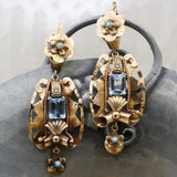 1930s Handmade 14k Aquamarine and Turquoise Statement Earrings