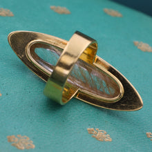 Midcentury Rutilated Topaz Navette Ring