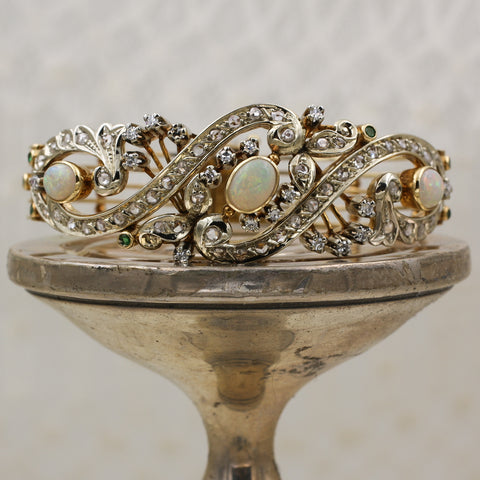 c1880 Opal, Emerald, and Rose Cut Diamond Bangle