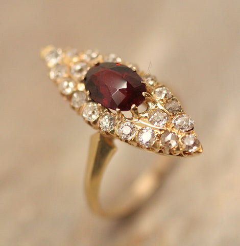 Circa 1895 14K Gold Garnet & Diamond Ring