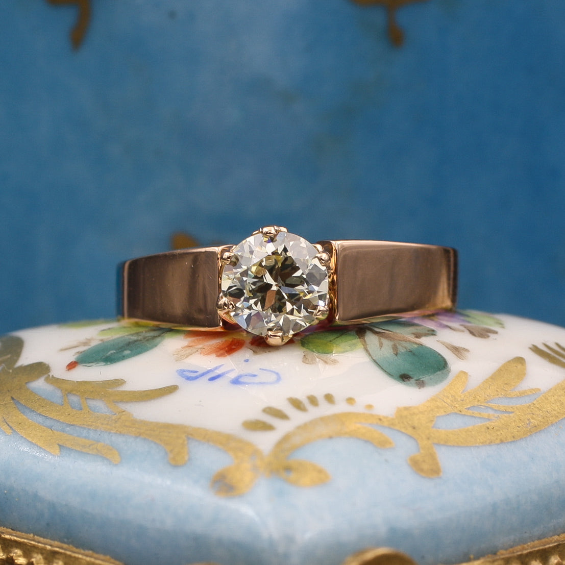 Light Green Diamond Solitaire in Rose Gold c1883
