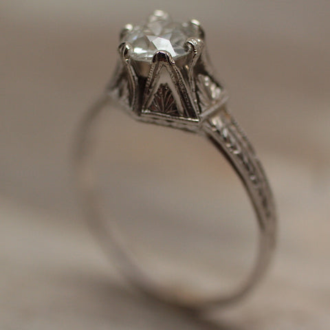 Circa 1910 14K Diamond Engagement Ring