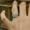 c1900 Handmade 18k Old Mine Cut and Rose Cut Diamond Halo Ring