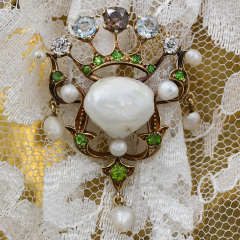 c1880 Intense Brandy Diamond, Natural Pearl, and Demantoid Garnet Brooch