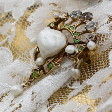 c1880 Intense Fancy Brown Diamond, Natural Pearl, and Demantoid Garnet Brooch