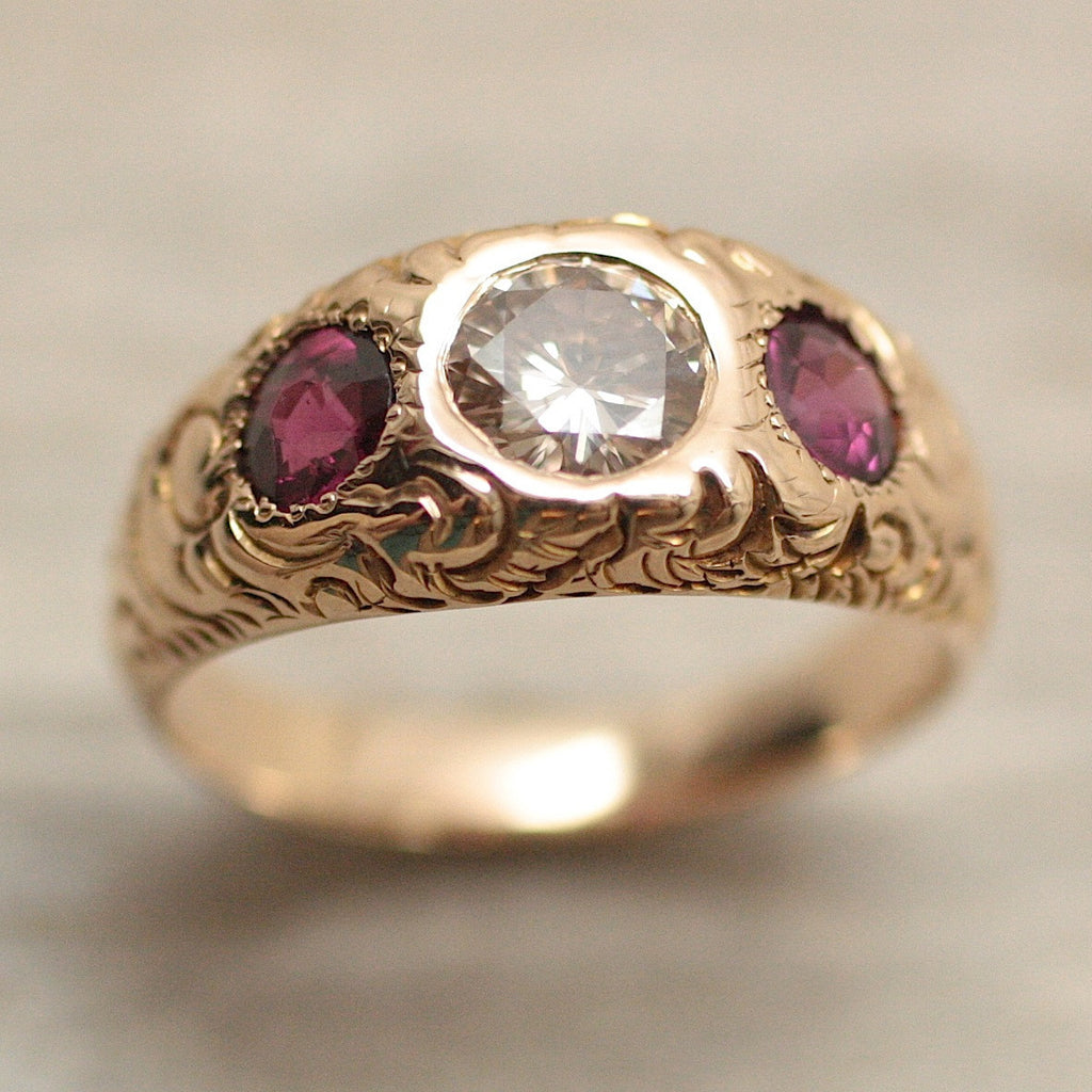 Circa 1890 Hand Carved Diamond And Purple Sapphire Gypsy Ring Pippin Vintage Jewelry