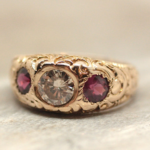 Circa 1890 Hand Carved Diamond and Purple Sapphire Gypsy Ring