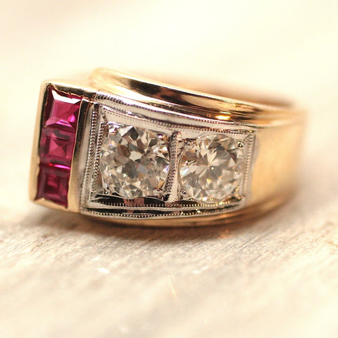 Circa 1930 Art Deco Diamond and Synthetic Ruby Ring