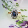 c1895 Sapphire and Rose Cut Diamond Halo Ring