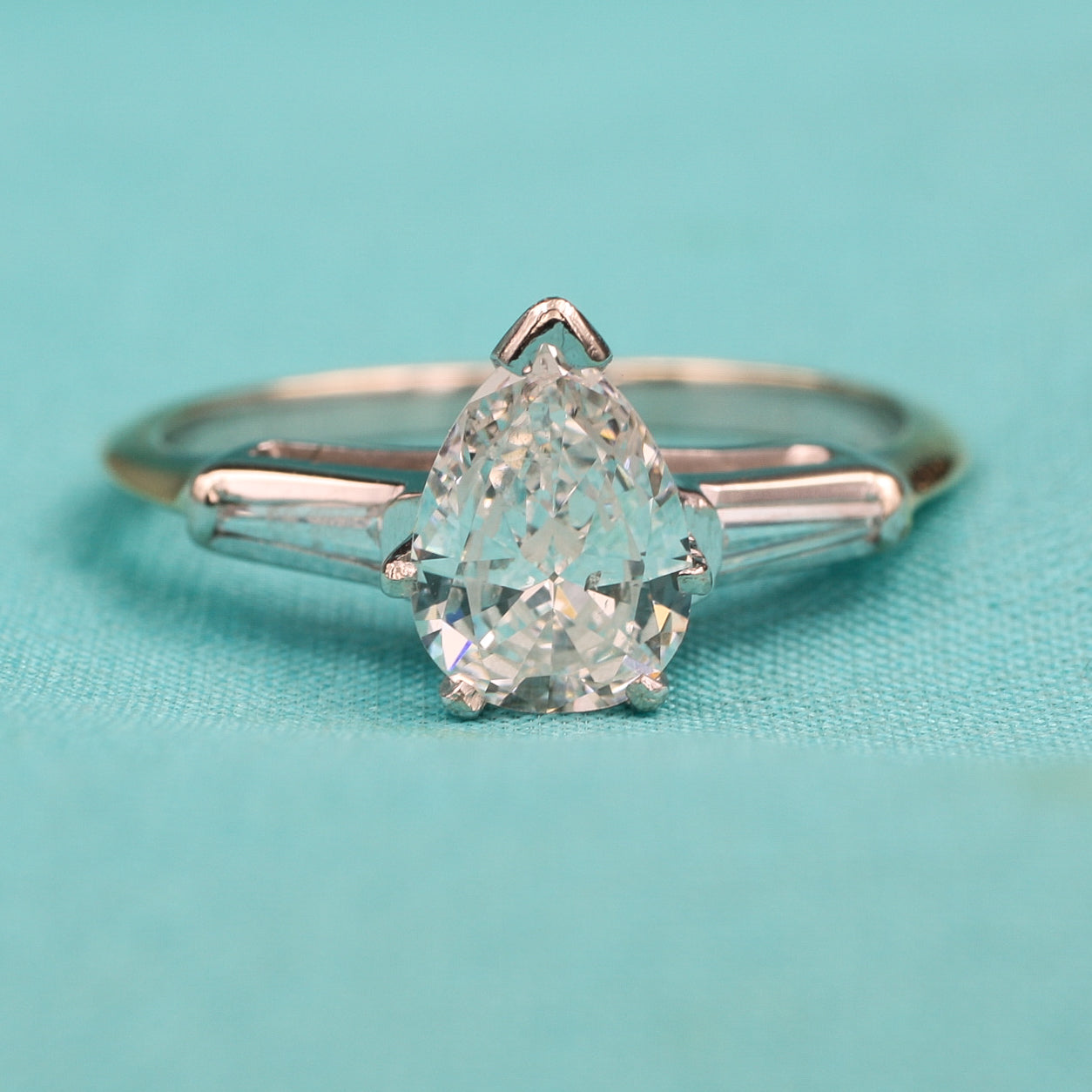 1960s-70s Pear and Baguette Diamond Ring