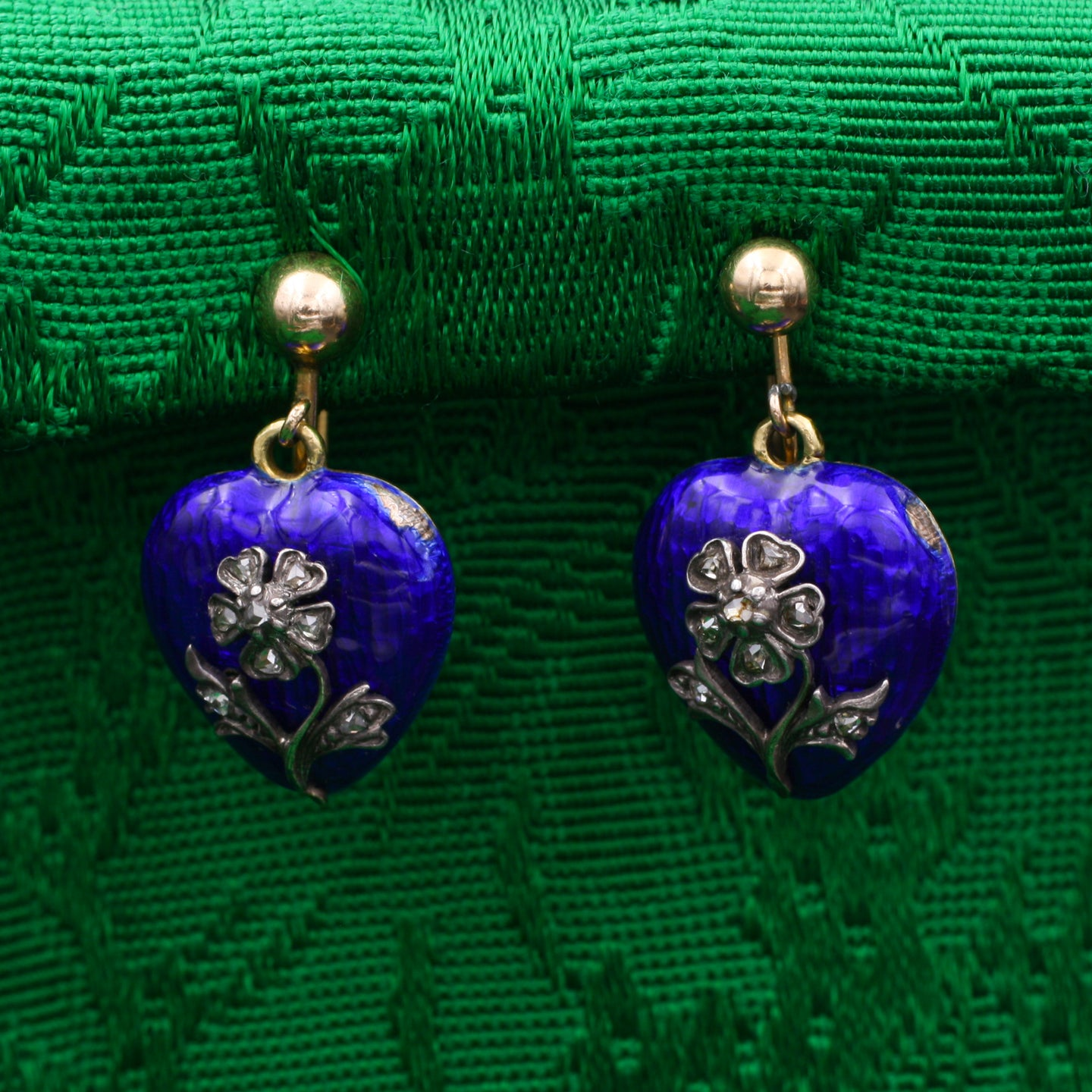 Victorian Enamel Memorial Heart Earrings