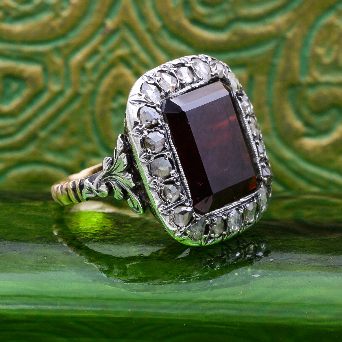 c1850 Garnet and Rose Cut Diamond Ring