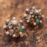 10K & Silver Natural Gemstone Earrings