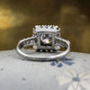 1920s Handmade Platinum Diamond Square Halo Ring