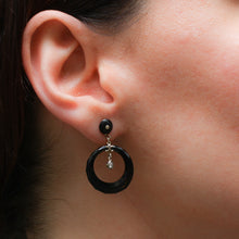 Deco Onyx and Diamond Drop Hoop Earrings