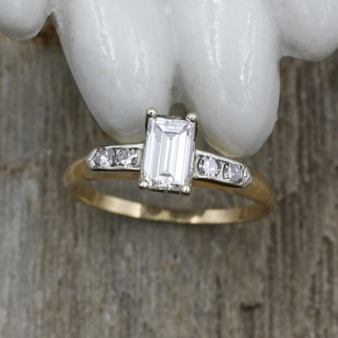 1930-50 GIA Certified .62ct Emerald Cut Diamond Ring