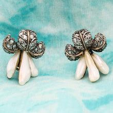 Rose-Cut Diamond and Natural Pearl Lilybell Earrings c1860