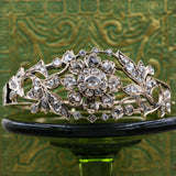 c1850 Rose Cut Diamond Floral Bangle