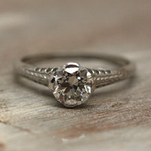Circa 1920 Handmade Platinum Engagement Ring