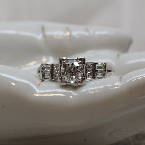 1940s Platinum and Diamond Ring