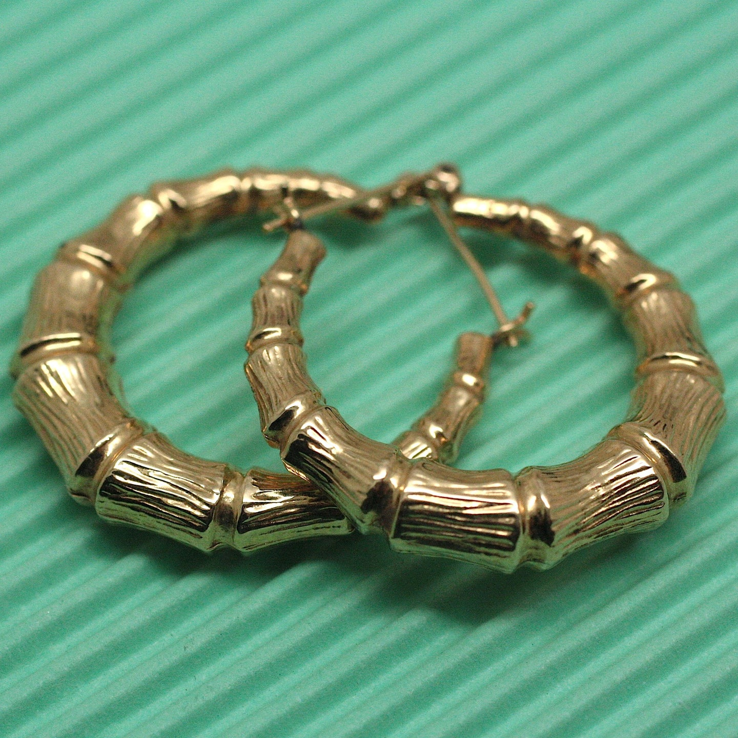 14K bamboo-style hoop earrings