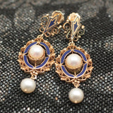 Circa 1950 14K, Enamel, Cultured Pearl Earrings