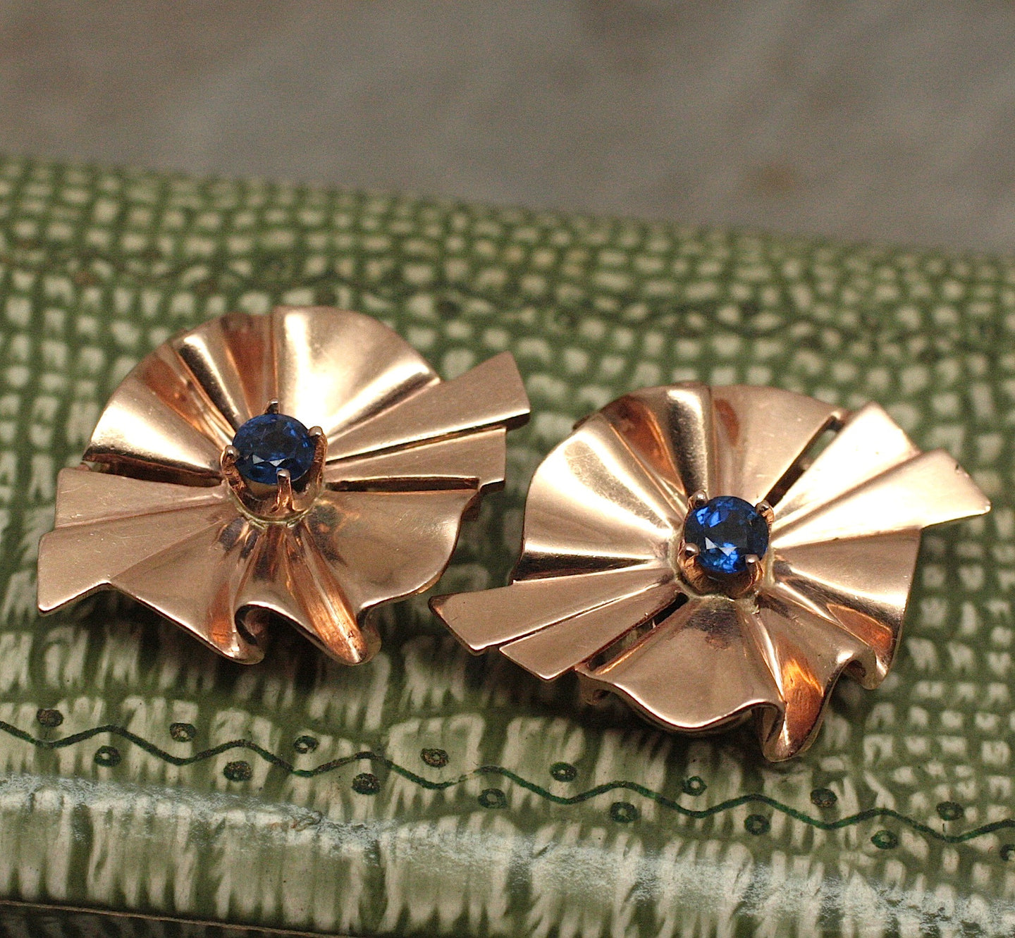 Circa 1940 14K rose gold & Sapphire Earrings