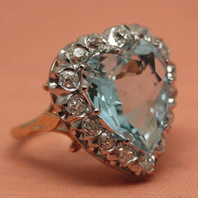 Circa 1950 Aquamarine & Diamond Cocktail Ring