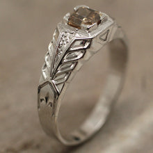 Circa 1920 Handcarved 18K & Champagne Diamond Ring