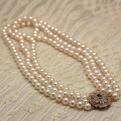 Circa 1950 3-Strand Pearl Necklace with Rubies and Diamonds