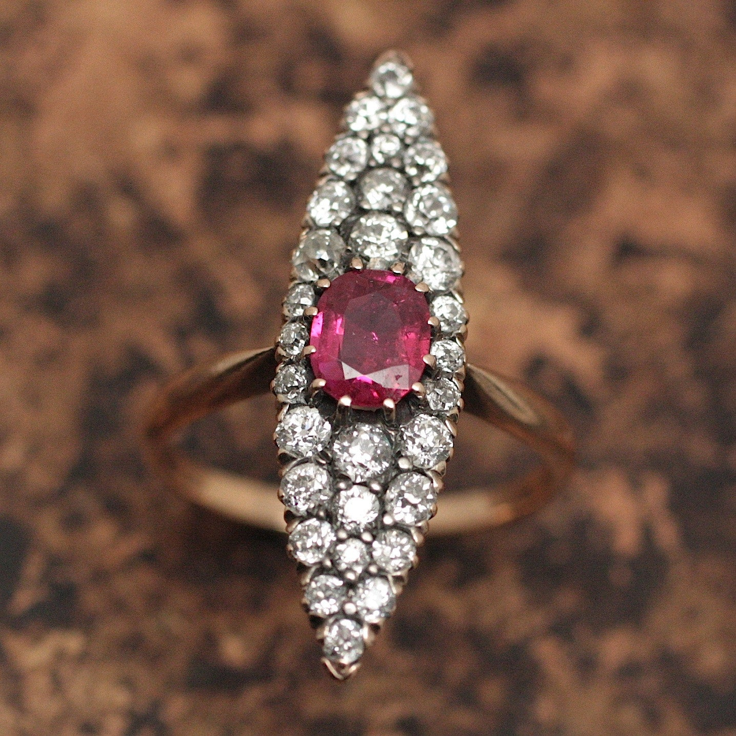 Circa 1880 Ruby & Diamond Navette Ring