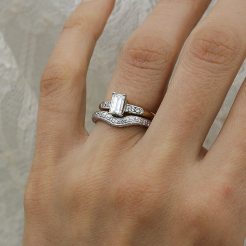 1940-50s Handmade Platinum Contoured Diamond Band