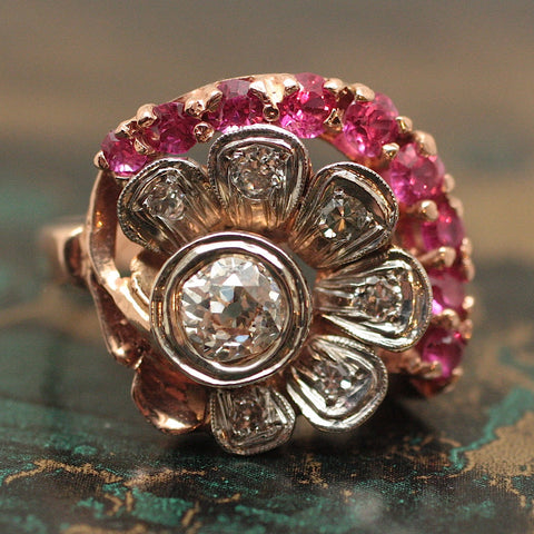 Circa 1940 Rose Gold, Diamond & Ruby Ring