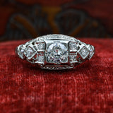 1920s 18k Filigree Diamond Dome Ring