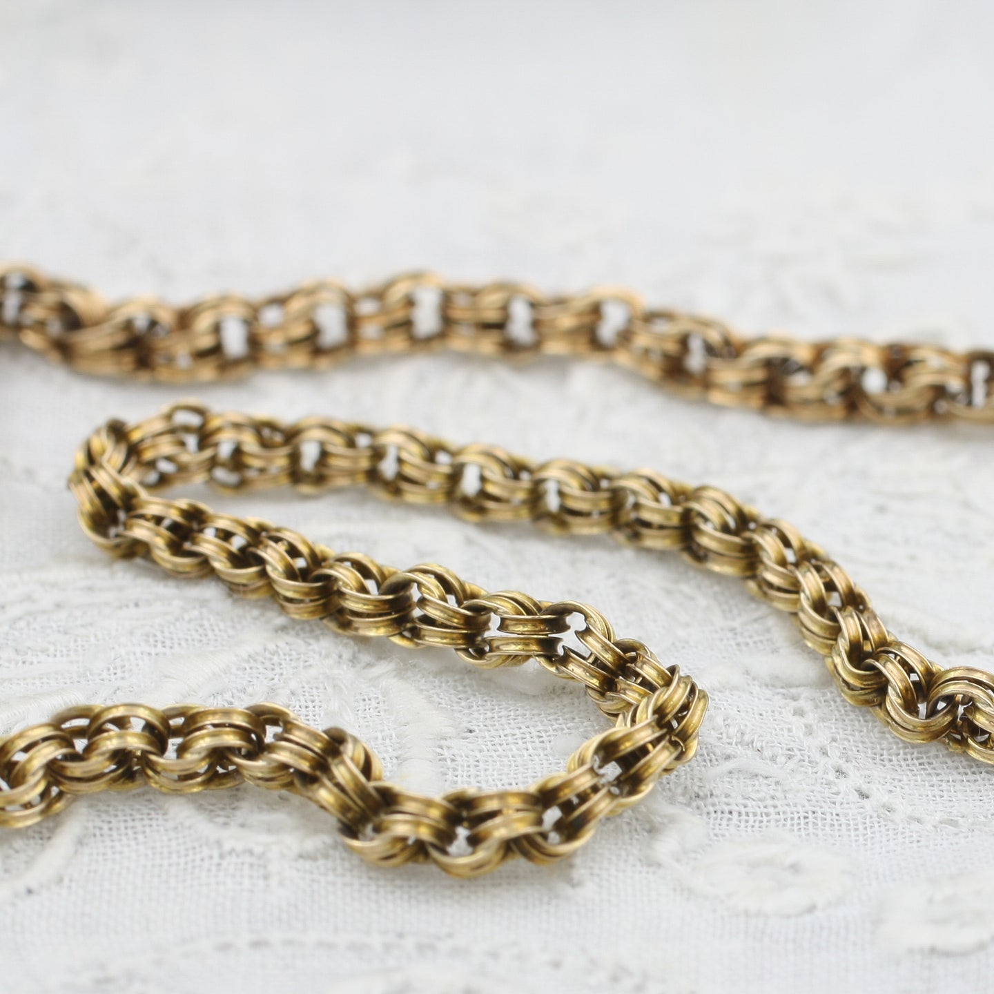 Long Victorian Double Cable Link Chain
