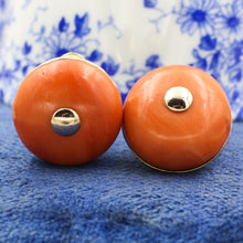 1930s-50s Fine Mediterranean Coral Button Earrings
