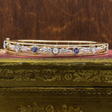 c1910 14k Montana Sapphire and Old Mine Cut Diamond Bangle
