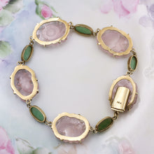 Rose Quartz and Jade Bracelet c1930