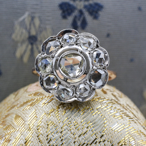 Early Victorian Rose-cut Diamond Cluster Ring