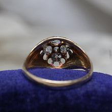 c1880 Handmade 14k Old Mine Cut Diamond Cluster Ring