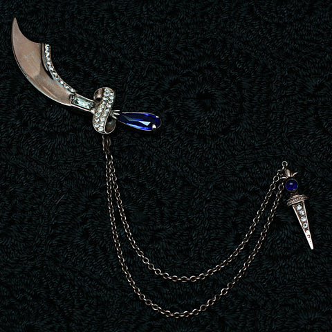 1941-46 Sterling Scimitar and Dagger Chatelaine Brooch