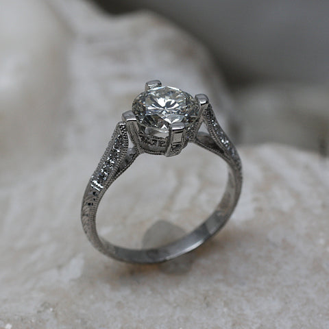 1970's Handmade Platinum Christian Bauer Diamond Ring