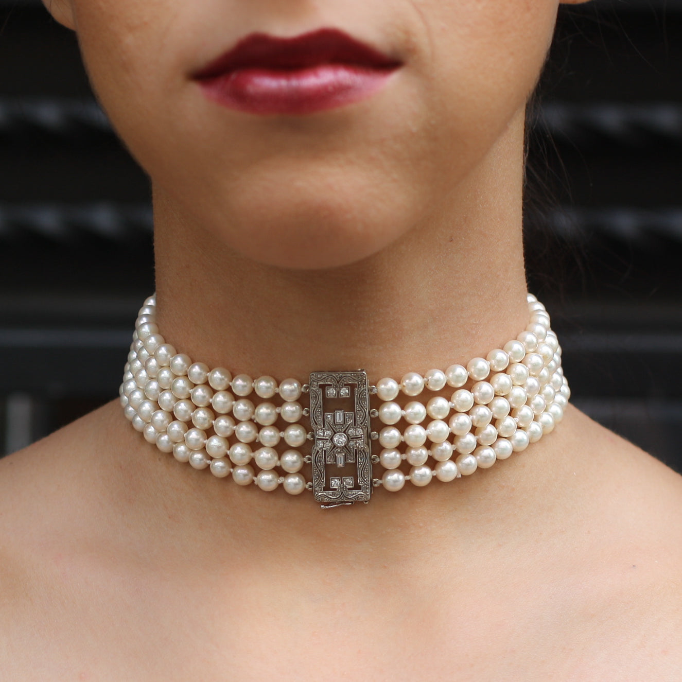 Edwardian Diamond Clasp Pearl Choker Necklace