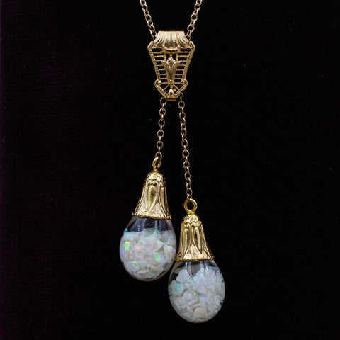 c1930 Horace Welch Floating Opal Lariat Necklace