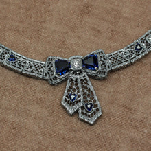 Deco Filigree Sapphire and Diamond Bow Necklace