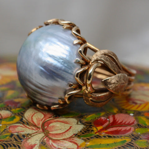 1930's Handmade Mabé Pearl Ring