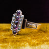c1880 Purple Sapphire and Black Pearl Ring