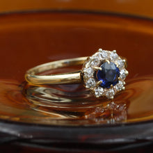 c1880 Burmese Sapphire and Old Mine Diamond Halo Ring