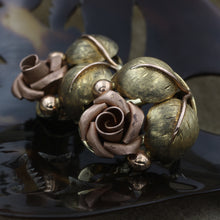 Gold Rose Earrings c1930