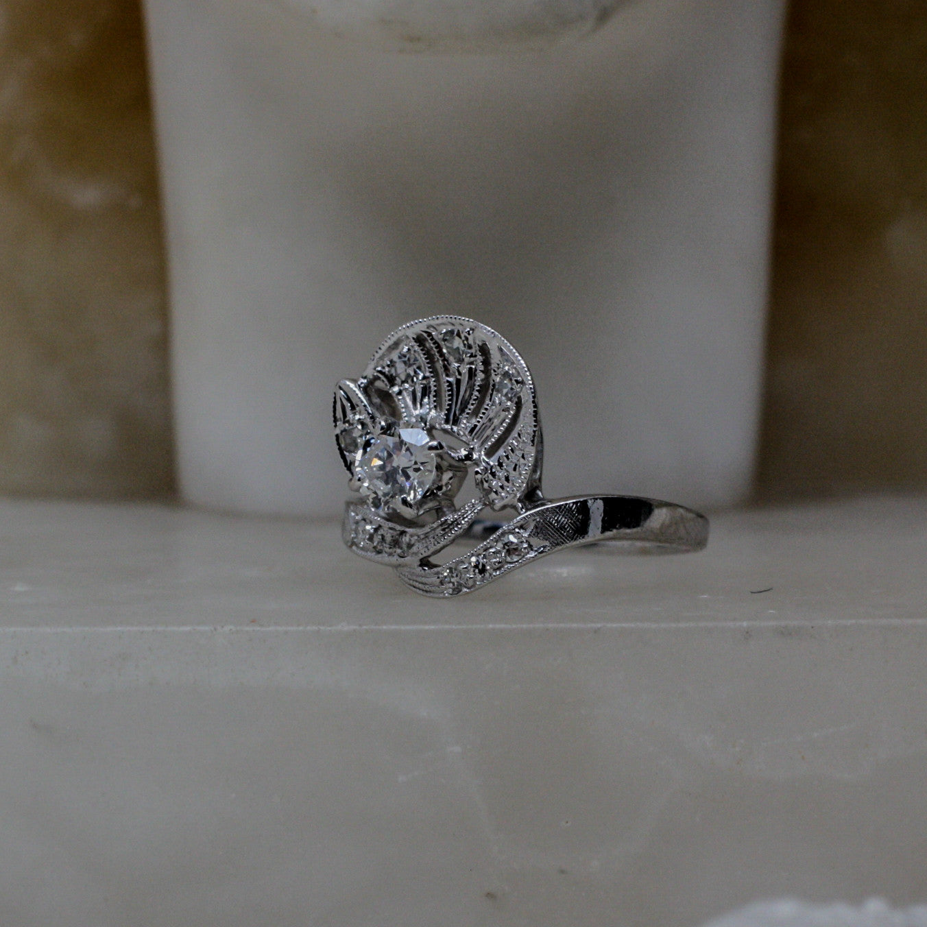 1920 S Diamond Shell Cocktail Ring Pippin Vintage Jewelry